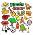 Picnic BBQ Doodle Stickers Badges Patches vector image vector image
