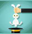 pulls out a rabbit from a hat vector image vector image