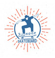 retro of skateboarding badge vector image