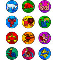 round icon set of colorful zodiac symbols vector image vector image