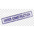 scratched under construction rectangle stamp vector image vector image