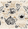 seamless pattern on theme tea and tea shop vector image