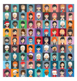 Set of people icons in flat style with faces 25 b vector image vector image