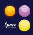set of planets space universe icon vector image vector image