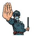 stop hand gesture robot policeman isolate on vector image vector image