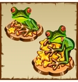 Two frog on a pile of golden stars FengShui vector image