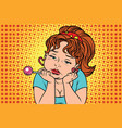 very sad vintage girl with lollipop vector image vector image