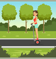 young sportive girl riding on segway scooter in vector image