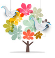 Tree with Dove Birds Abstract Chestnut Tree with vector image