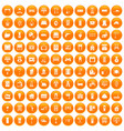 100 comfortable house icons set orange vector image vector image