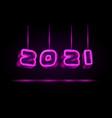 2021 text design with neon retro light bulbs vector image vector image