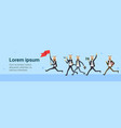 arab businessman run with red flag team group over vector image vector image