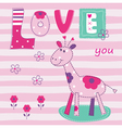Baby background with cute giraffe vector image