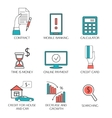 Banking service outline icons set deposit vector image