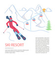 banner template for mountain ski resort vector image vector image