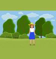 beautiful girl in a straw hat in summer garden vector image
