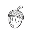 black and white a cartoon acorn vector image
