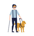 blind man and guide dog isolated on white vector image vector image