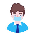 boy in protective medical mask vector image