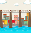 Bridge over the river and city vector image vector image