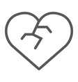 broken heart line icon love and broke heartbreak vector image vector image