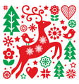 christmas red and green pattern scandinavian folk vector image vector image