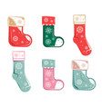 christmas socks collection isolated on white vector image