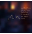 Cityscape line graphic on blurred background vector image