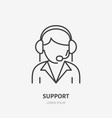 customer support flat line icon call center sign vector image