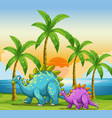 dinosaurs at sunset at the beach vector image vector image
