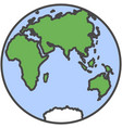 earth globe planet with continent and water flat vector image