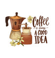 elegant drawing of moka pot branch of coffee vector image vector image