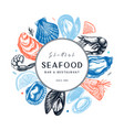 frame with hand drawn seafood - fresh fish vector image vector image