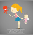 girl with red devil and cute angel vector image