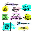giveaway handwritten lettering text and bright vector image vector image