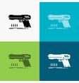 gun handgun pistol shooter weapon icon over vector image