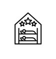 hostel room logo with two beds and three stars vector image