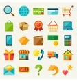 internet shopping icon set in flat design style vector image