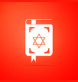 jewish torah book icon on orange background vector image vector image
