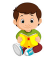 kids boy reading book cartoon vector image vector image