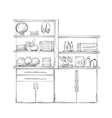 Kitchen cupboard Furniture with wares vector image vector image