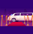 limousine at empty red carpet with rope barrier vector image