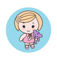 little girl with a doll vector image vector image