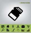 memory card sign black icon at gray vector image vector image