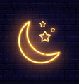 neon golden crescent and stars ramadan kareem vector image vector image