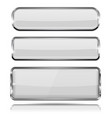 oval and rectangle white 3d buttons with chrome vector image vector image
