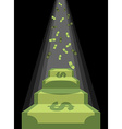 Pedestal out of money Ladder to wealth of dollars vector image vector image