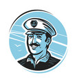 portrait of happy smiling captain sailor vector image