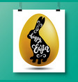 poster with a handwritten phrase-happy easter and vector image vector image