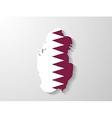 Qatar flag map with shadow effect vector image vector image